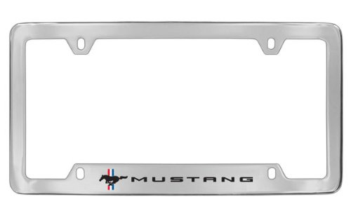- Ford Mustang Pony Chrome Plated Metal Bottom Engraved License Plate Frame Holder