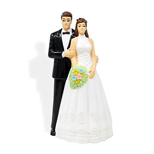 (Vintage Style Bride and Groom Wedding Cake Topper Light Complexion Skin Brown Hair)