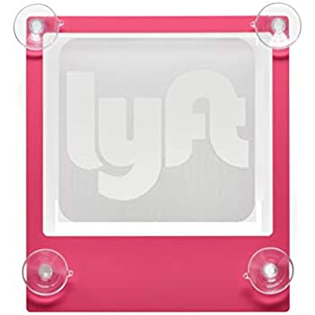 Acryled designs LYFT Sign Glow LED Light Logo Removable Car Driver Window Decal Sticker w Rechargeable Batteries - Taxi Rideshare Accessories Bundle