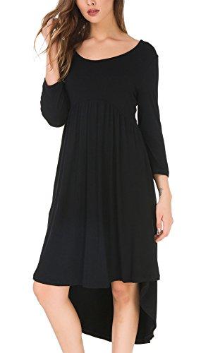 Pockets KorMei Midi Pleated Crewneck Casual Loose Women Black High Dress Swing Low fHZqrfwx