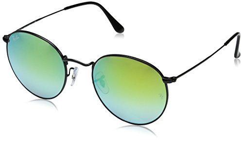 Ray-Ban Metal Round Sunglasses, Shiny Black, 53 - Ray Ban Round Vintage Sunglasses