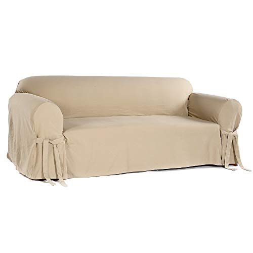 Classic Slipcovers Brushed Twill Sofa Slipcover Khaki/White Stripe Brushed Twill Sofa Slipcover