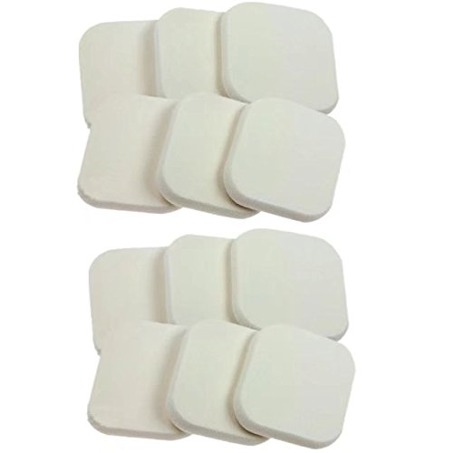 Garrelett 12 Pcs Square Facial Sponge Loose Powder Puff Pad Cosmetic Makeup Tool for Lady (White) (Jane Shimmering Powder)