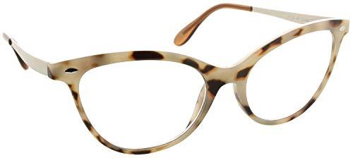 Fiore Multi Focus Progressive Reading Glasses 3 Powers in 1 (Cateye - Light Tortoise, 1.50)