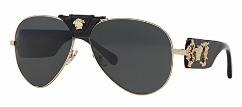 Versace VE2150Q - 100287 Gold/Black Aviator Sunglasses - Mens Versace Sunglasses