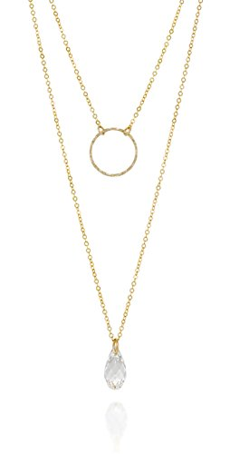 Stera Jewelry Multilayer 14k Gold Filled Necklace Made with Swarovski Teardrop Crystal & Circle Pendants, -