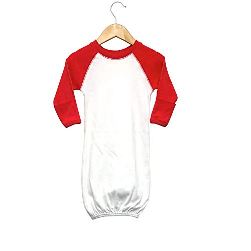 (Laughing Giraffe Raglan Baseball Baby Sleeping Gown with fold-Over Mittens (White/Red))