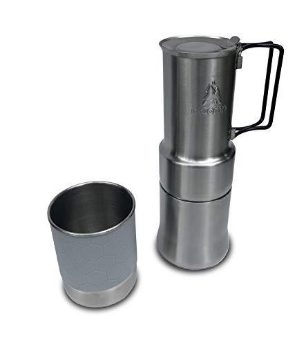 (nCamp Portable Coffee Maker, Compact Espresso Style, Stainless Steel Stovetop Cafe Gear for Camping Backpacking Hiking Outdoor Cooking Camp Chef Stove)