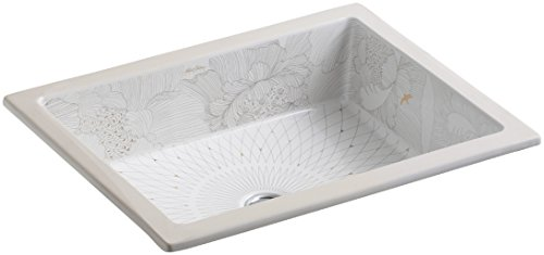 KOHLER K-14275-SMC-0 Empress Bouquet Design on Kathryn Undermount Bathroom Sink, White, White