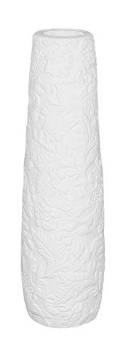 Convex Vase - Benzara Convex Shaped Ceramic Vase Feat Embossed Design, Small, White