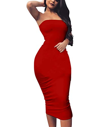 Notes Red Club - BORIFLORS Women's Basic Sleeveless Tube Top Sexy Strapless Bodycon Midi Club Dress,XX-Large,Red