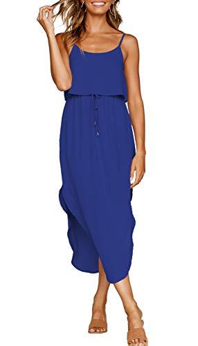 (ZJCT Womens Dresses Adjustable Strappy Sleeveless Side Split Casual Summer Beach Midi Dress with Pockets Blue M)