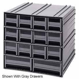 Quantum QIC-83RD Interlocking Gray Storage Cabinet with 8 Red Drawers, 11.38-Inch by 11-3/4-Inch by 11-Inch