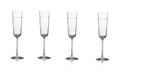 Michael Aram Hammertone Champagne Flutes (Set of 4 glasses ) 9.75''H, 6 Oz.; Non-Lead Crystal by Michael Aram