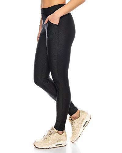 Kendindza Legging Brillant pour Femmes avec Poches   Opaque   Taille Haute élastique