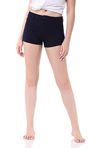 Pau1Hami1ton Women's Casual Elastic Waist Summer Shorts Jersey Walking Shorts GP-02(XL,Blue)