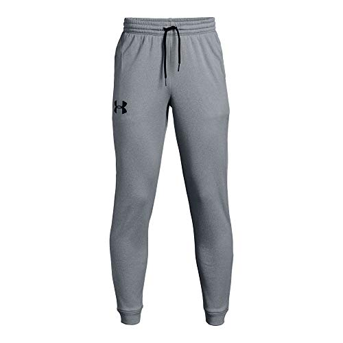 Under Armour Boys' Armour Fleece 1.5 Solid Joggers, Steel Light Heather (035)/Black, Youth X-Large