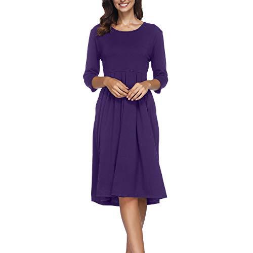 Women Dress Tunic 3 Dress Naokenu Pleated Casual with Pockets Midi Sleeve Purple 4 YgZZdqw