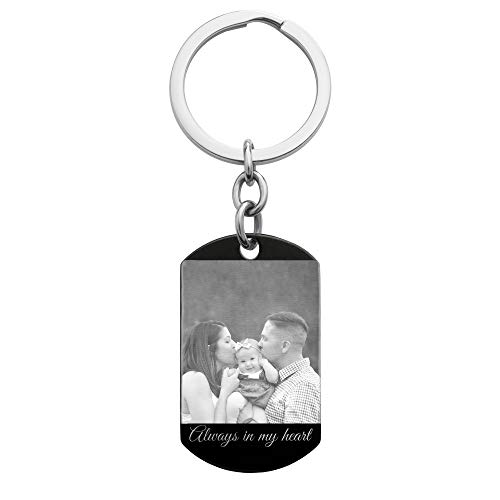 Queenberry Personalized Photo/Text Engraved Stainless Steel Dog Tag Pendant Keychain Handmade