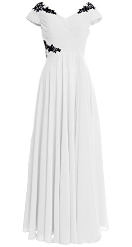 MACloth Women Cap Sleeve Long Mother of Bride Dress Wedding Party Formal Gown Blanco