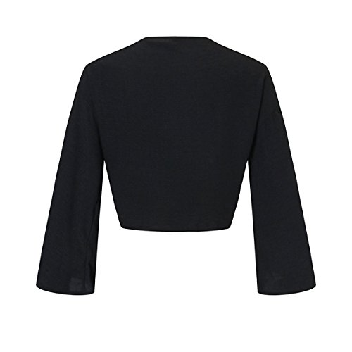 Bow Neck Flare Front Tops Mtydudxe Manches Deep Crop Longues Femmes Black Tie Blouse V EUnqwYS
