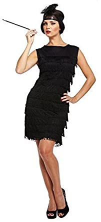 d6dccbf3ad4 Ladies Sexy Black 1920s Fringed Flapper Girl Charleston Fancy Dress Costume  Outfit STD   Plus Size