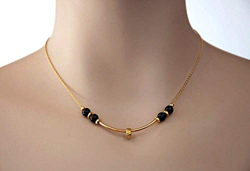 (Gold Bar Necklace with Ring Black Spinel Gemstones on a 14K Gold Filled Chain 15