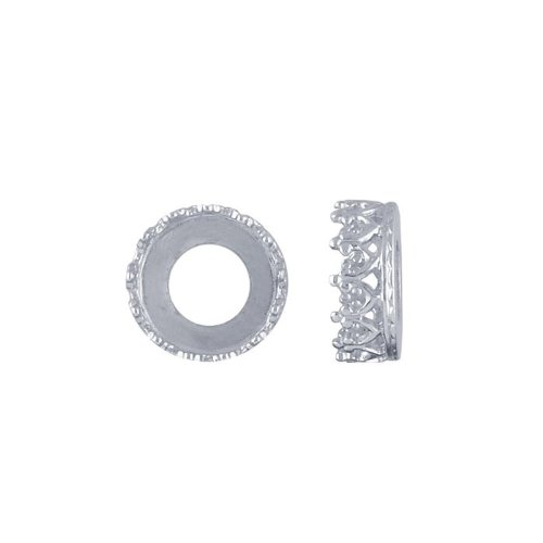 Sterling Silver 8mm Round Gallery Wire Bezel Cup - Silver Wire Gallery