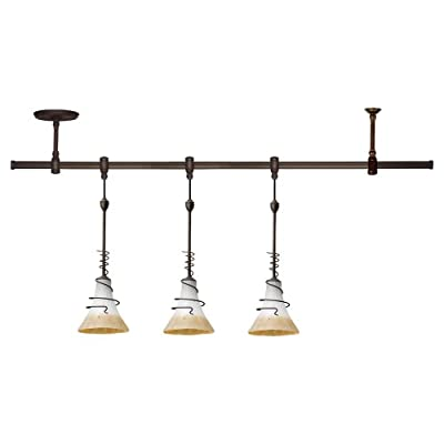 Sea Gull Lighting 94512-71 Island Pendant with Ember Glow Glass Shades, Antique Bronze Finish