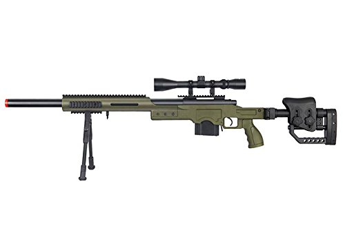Well MB4410 Bolt Action Spring Sniper Airsoft Rifle w/Scope and Bipod (OD Green) (Well Airsoft Sniper)