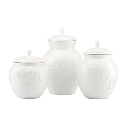 Lenox Opal Innocence Carved 3-piece Canister - Canister Set White