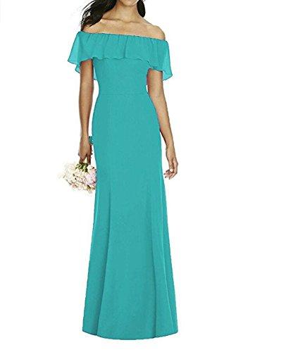 Robes De Demoiselle D'honneur Sexy En Mousseline De Soie De L'épaule Longue Sirène Turquoise Robe De Bal Du Soir