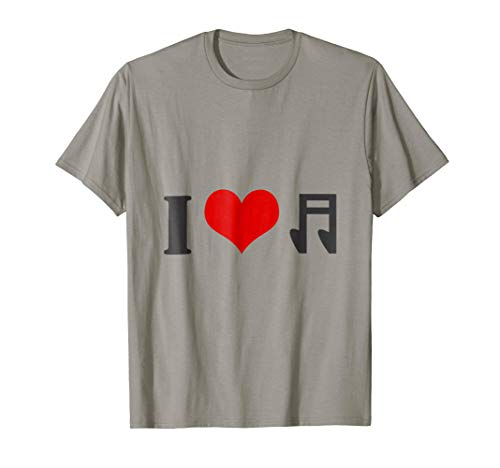 Notes Images Music - I Love Music T-Shirt Gift with Heart & Musical Note Image