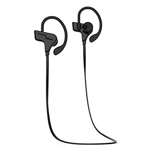 Bluetooth Headphones,Sport Earbuds V4.1 Heavy Bass Stereo In-Ear Noise Cancelling Sweatproof Headset 8-Hour Playing Time With Mic , Secure Ear Hooks Comfort-Fit Earbuds for Gym - El Centro Hours