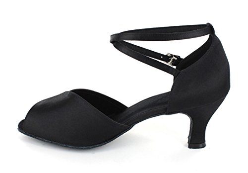 Tda Mujeres Dance Performance 601801 Mediados De Tacón Satén Salsa Tango Ballroom Latin Zapatos Black