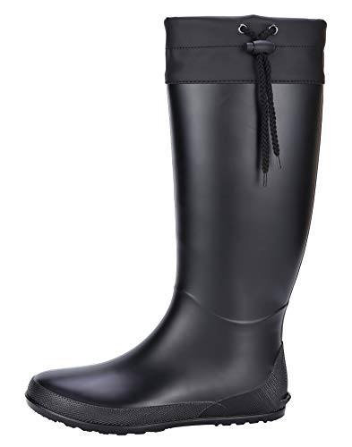 Women's Tall Rain Boots Soft Waterpoof Wellingtons Wellies Ultra Lightweight Snow Boots BK37