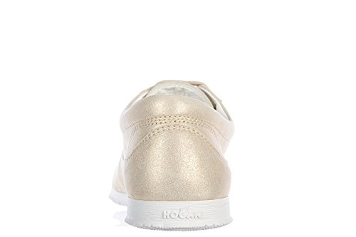 Hogan chaussures baskets sneakers femme en cuir h258 traditional allacciato or