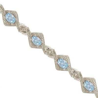 5.63ct Antique Style Aquamarine and Diamond Link Bracelet 14k White Gold