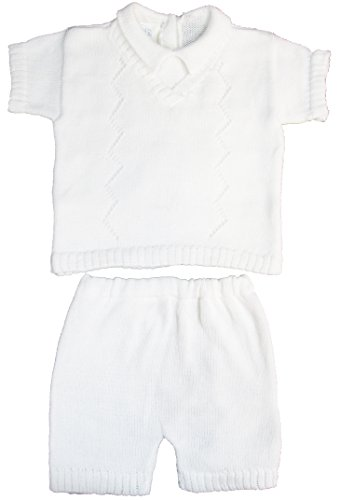 White Sweater Shorts Set 100% Cotton Baby Boy's Christening Baptism 9 Month