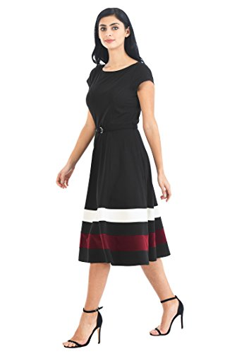 pe Hem Belted Cotton Knit Dress 1X-16W Tall Black/Multi (Belted Knit Dress)