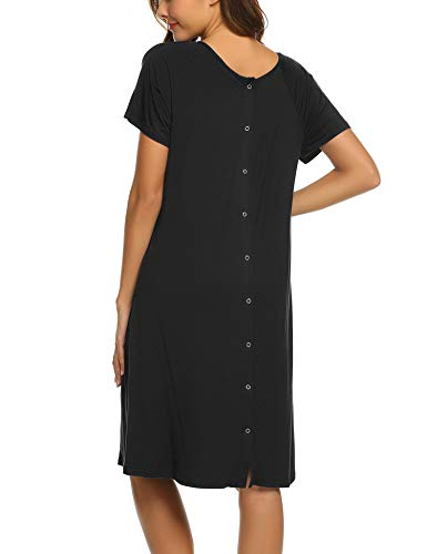 Ekouaer Women's Short Maternity Dress Round Neck Nursing Nightgown for Breastfeeding Nightshirt Sleepwear (Black,M) (Best Hospitals For Labor And Delivery)