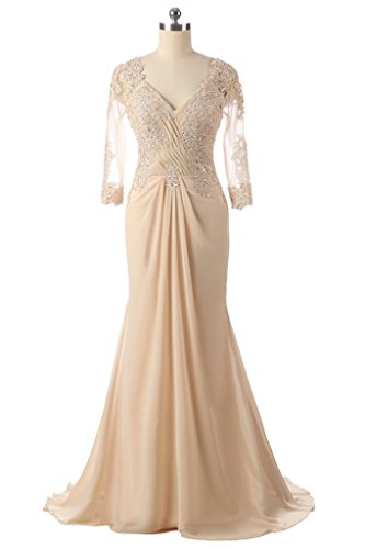 H.S.D Women's Mermaid Lace Beaded Long Mother Of The Bride Dress Champagne