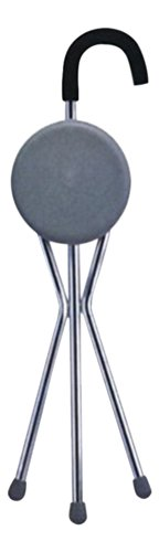 Danny's World® Seat Cane (Gray Round Seat Curved Handle)