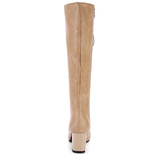Lacets Sexy Cuissardes Coolcept Longue Femmes Haut Chaussures Mode Kaki Bottines Talon Genou Bottes Haute xBgR0n4zgq