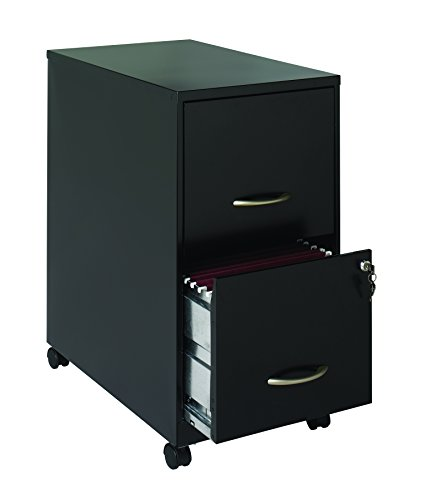 Office Dimensions 22'' Deep 2 Drawer Letter-Sized Mobile Metal File Cabinet, Black (21067) by Space Solutions
