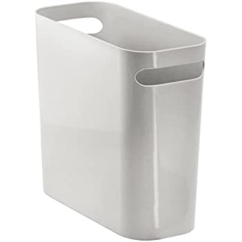 mdesign slim rectangular small trash can wastebasket garbage container bin with. Black Bedroom Furniture Sets. Home Design Ideas