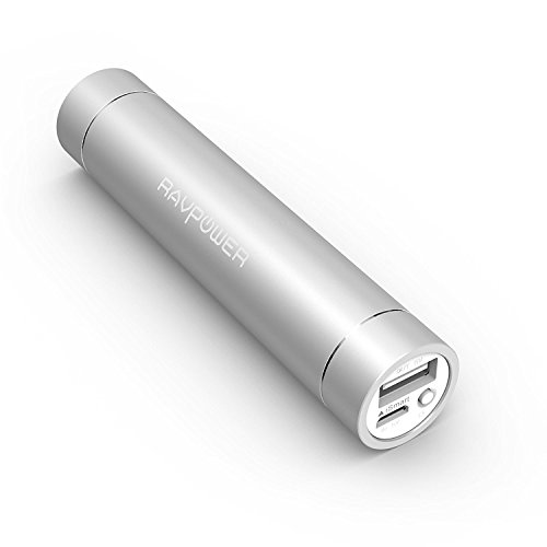 RAVPower Portable Charger 3200mAh External Battery Pack Power Bank with Ultra bright flashlight(3rd Gen Mini, iSmart Technology, Apple Adapter Not Included)for Phones, Tablets and - Silver