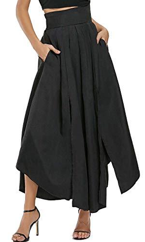 Bodycon4U Women's High Slits Bow Tie Summer Beach High Waist Shirring Maxi Skirt Pockets Black M by Bodycon4U (Image #6)