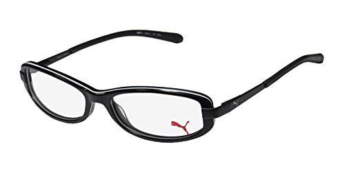 Puma 15365 Zetta II Mens/Womens Cat Eye Spring Hinges Upscale Unisex Hard Case Optimal TIGHT-FIT Designed For Active Lifestyles Eyeglasses/Eyewear (52-15-135, Black/White) (Cats Eye Brille)
