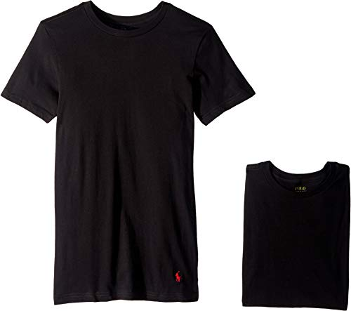 (Polo Ralph Lauren Slim Fit Cotton T-Shirt 3-Pack, M, Black)